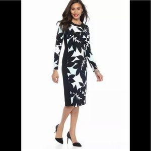 Maggy London Career Jersey Long Sleeve Midi Dress